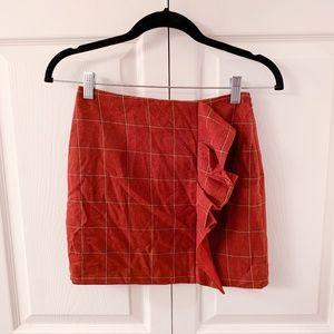 NWT! Gianni Burnt Orange Ruffle Plaid Skirt